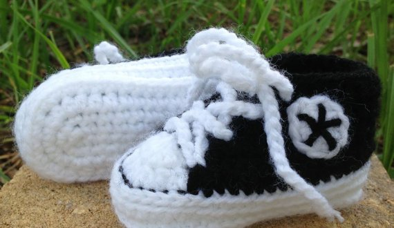 60c84e7d3ea3 Custom Color Converse Baby Booties (with free crochet pattern link ...