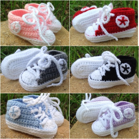Custom Color Converse Baby Booties (with free crochet pattern link ...